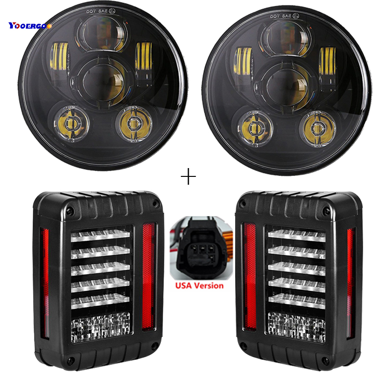 For Jeep Jk Led Light 7 LED light 45W 7Inch Headlights&Tail Lights Rear Brake Reverse Lamp For Jeep Wrangler JK 2007-2016