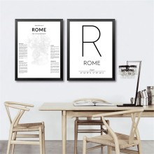 Rome Map Posters Canvas Prints , Rome Italy City Coordinates Art Painting Black White Pictures Home Living Room Wall Art Decor(China)