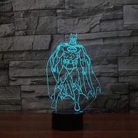 3D Batman Modelling Desk Lamp 7 Color Changing Super Hero Nightlights Led Touch Switch Lighting Decor