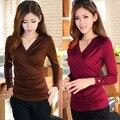 2015 Fashion New Woman Top Shirt for Women V-neck stretchy slim woman t-shirt long-sleeve shirt Red,brown,black M,L,XL