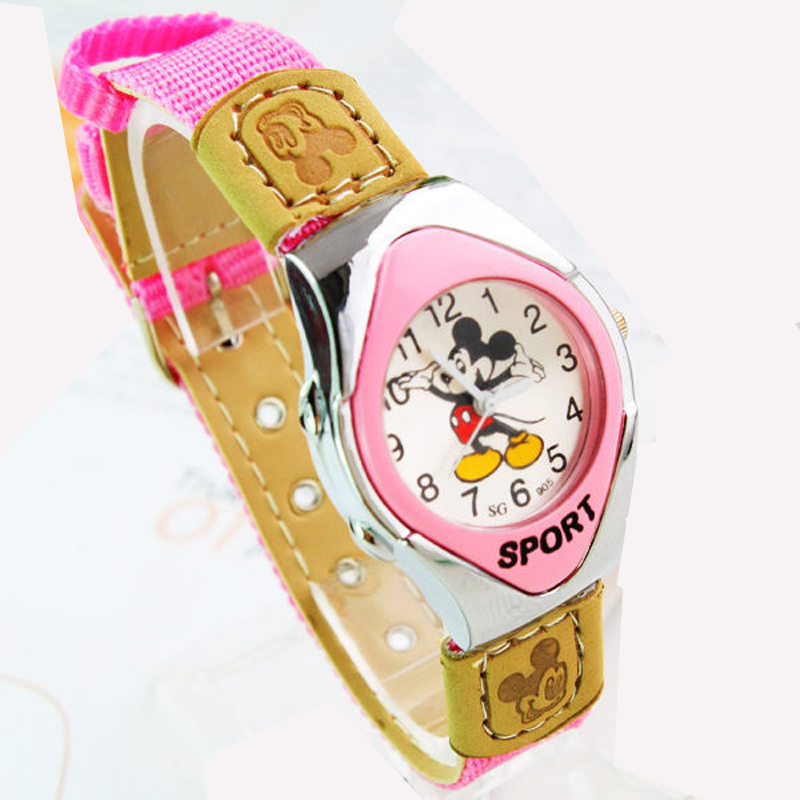 2109 Fashion Mickey Fabric Strap Catoon Watches For Girl Boy Student Good Quality Quartz Children's Sports Casual Clocks