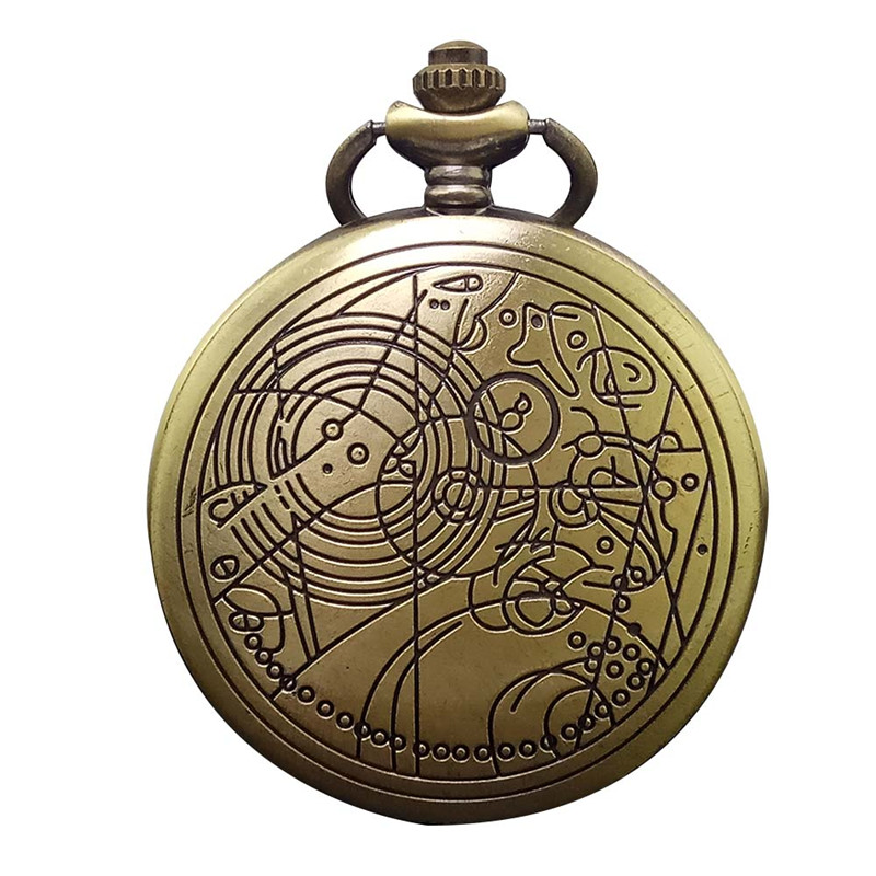 Vintage Retro Doctor Flip Steampunk Quartz Pocket Watch Antique Bronze Women Men Pendant Necklace Chain Clock Relogio De Bolso vintage bronze fishing steampunk quartz pocket watch antique necklace pendant with chain clock men women gifts relogio de bolso