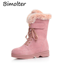 Bimolter Winter Warm Cow Suede Wool Lining Snow Boots Natural Rabbit Fur Med-Calf Women Lace-Up Comfortable Shoes LAEB016
