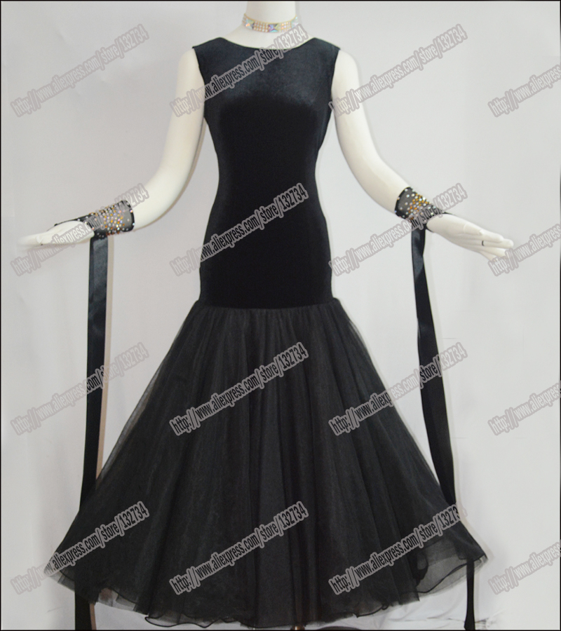 Moderní taneční šaty Waltz Tango, taneční šaty hladké, taneční šaty Standard B-0025