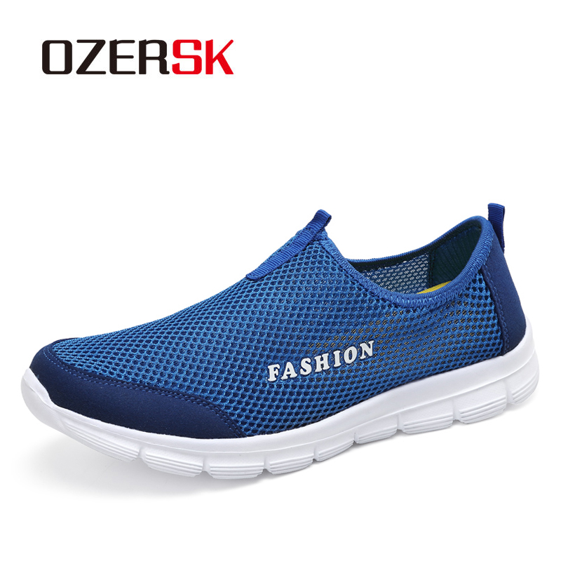 OZERSK New Arrival Men Lightweight Sneakers Mesh Breathable Comfortable Soft Casual Shoes Male Slip-On Flats Seaside Shoes