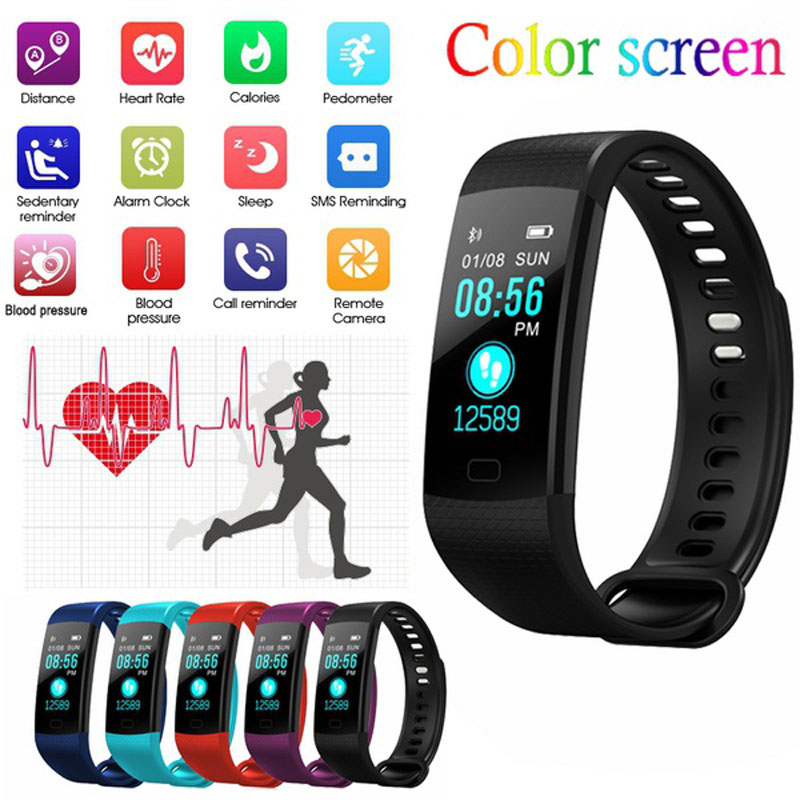 Original Y5 Smart Bracelet Rate Blood Pressure Monitor fitness bracelet Smart Band Color Screen fitness tracker for mi band 3 goral y5 smart bracelet 0 96 inch tft color screen