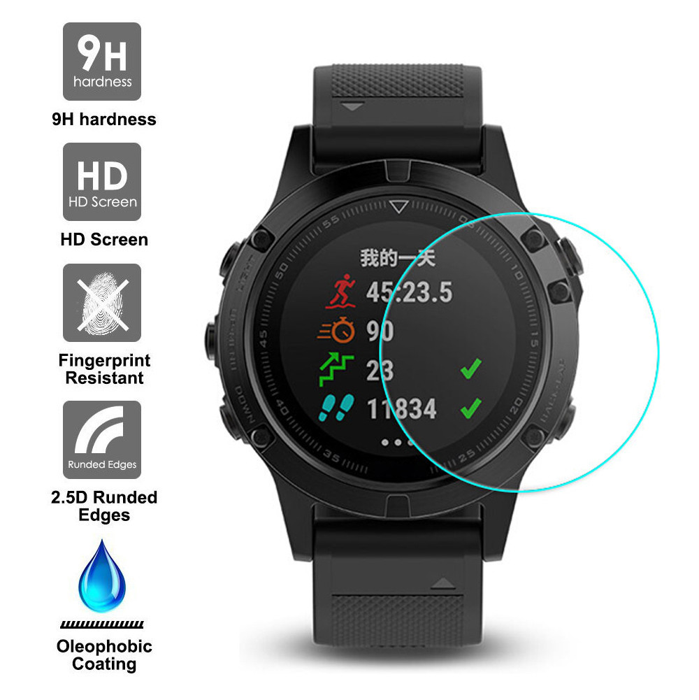 9H+ Tempered Glass Screen Protector Protective Film for Garmin Fenix 5 GPS Watch /Garmin Fenix 5S GPS /Garmin Fenix 5X GPS Watch 9h tempered glass for iphone x 8 4s 5 5s 5c se 6 6s plus 7 plus screen protector protective guard film case cover clean kits