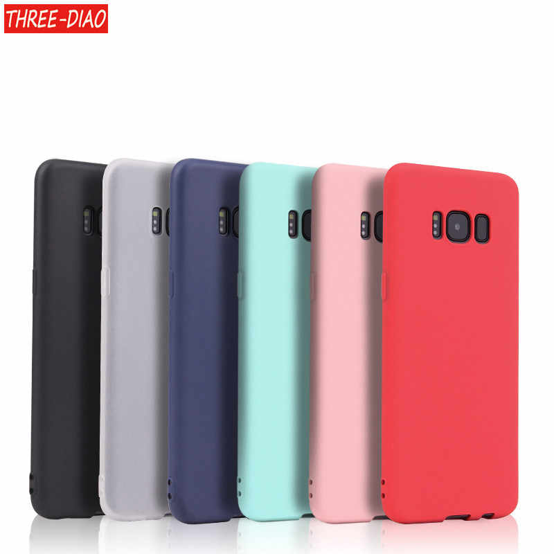 THREE-DIAO Matte Silicone TPU Soft Back Cover Case For Samsung J3 J5 J7 J4 J6 J8 J2 J5 J7 Prime A3 A5 A7 A6 A9 2016 2017 2018