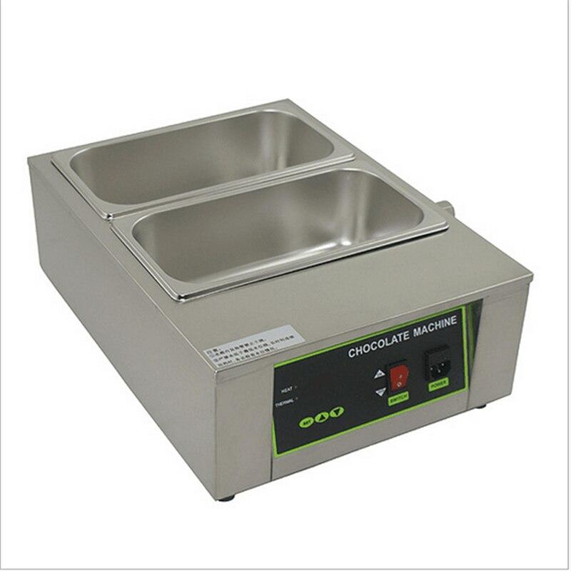 Нагрева воды 2 цилиндра Нержавеющаясталь Электрический тающий шоколад печь машина шоколад плавления Плита горшок для коммерческих