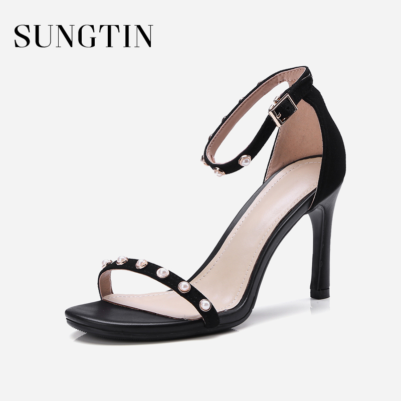 Sungtin Classic Black Pearl High Heels Sandals Women Sexy Elegant Stilettos  Pumps Lady Summer Open Toe Suede Sandals Shoes 8CM-in High Heels from Shoes  on ... 3dfe4e870a53