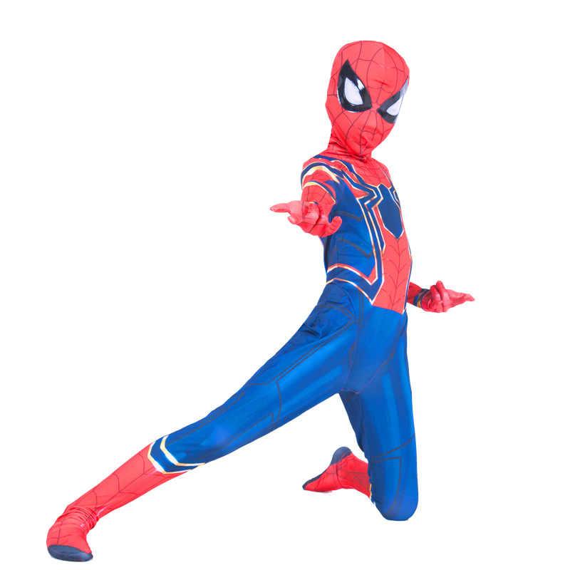 Nuevo niño niños Lycra Spandex de hierro Spiderman vengadores guerra del infinito niños 2018 Spider-Hombre Mono fiesta de Halloween del traje de Cosplay