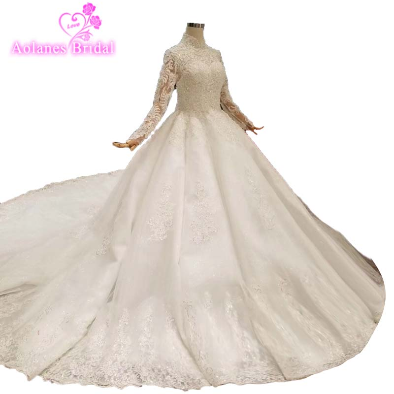 Lace High-end Custom Made High Neck Lace Wedding Dresses Ball Gown Heavy Weight Wedding Dress 2019 Sweetehart Vestido De Noiva