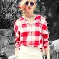 Achiewell Más Tamaño Verano de Las Mujeres Elegantes Camisas de Tela Escocesa Roja Big Square Patchwork Cuello En V Profundo Mujeres Largas Camisas
