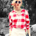 Achiewell Plus Size Summer Elegant Women Shirts Red Plaid Big Square Patchwork Deep V Neck Long Women Shirts