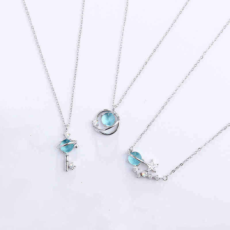 Silver rose gold chains universe planet pendant necklaces star saturn blue crystal Korean fashion jewelry for women gifts S34