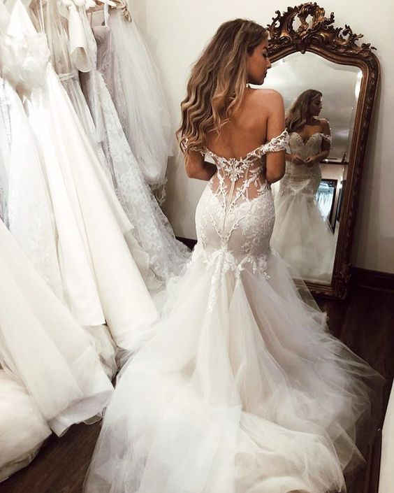 Sexy Backless Mermaid Wedding Dresses Sweetheart Off-the-Shoulder Zipper Back Tulle Wedding Bridal Gown Vestidos Novia 2020