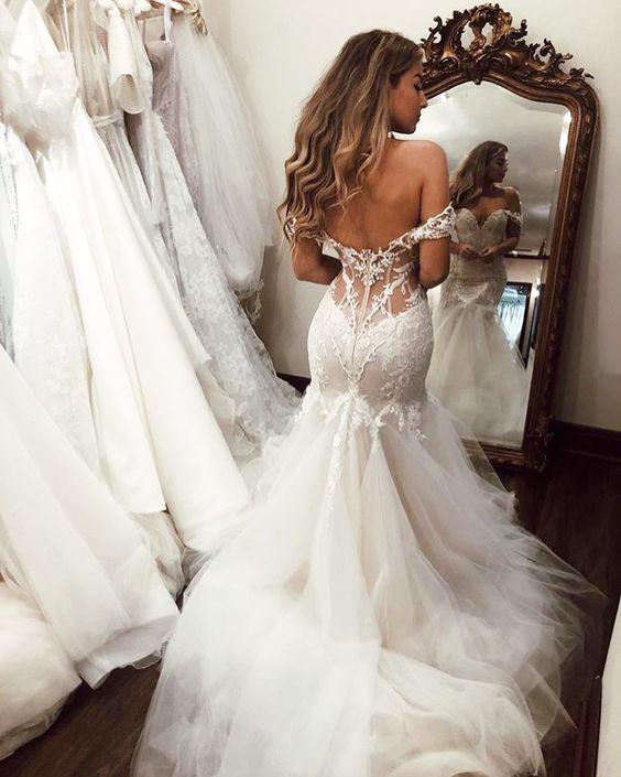 Sexy Backless Mermaid Wedding Dresses Sweetheart Off-the-Shoulder Zipper Back Tulle Wedding Bridal Gown Vestidos Novia 2020