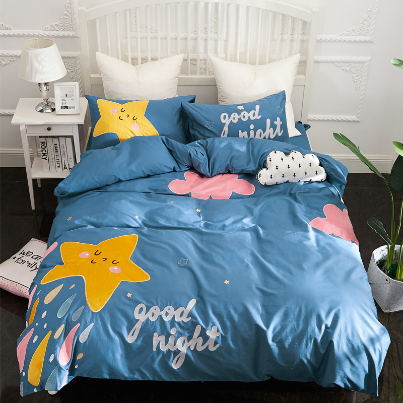 Papa&mima Meteor Shower Embroided Bedding Sets 4pcs Double Queen King Size Bedclothes 100%cotton Bed Sheet Set Pillowcases Bedding Sets