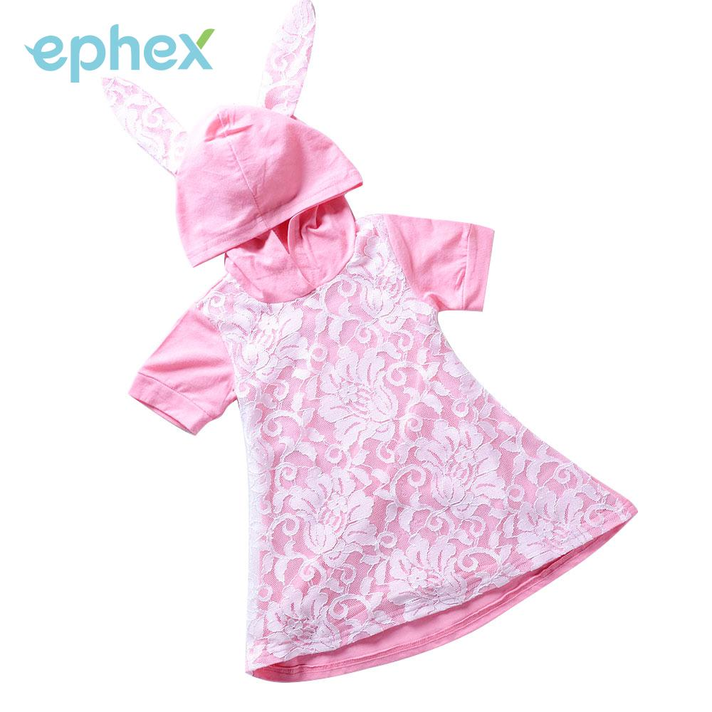 Rabbit Ears Girl Dresses Lace Home Casual Pink Hooded Dress Party Soft Baby Lace Dress Baby