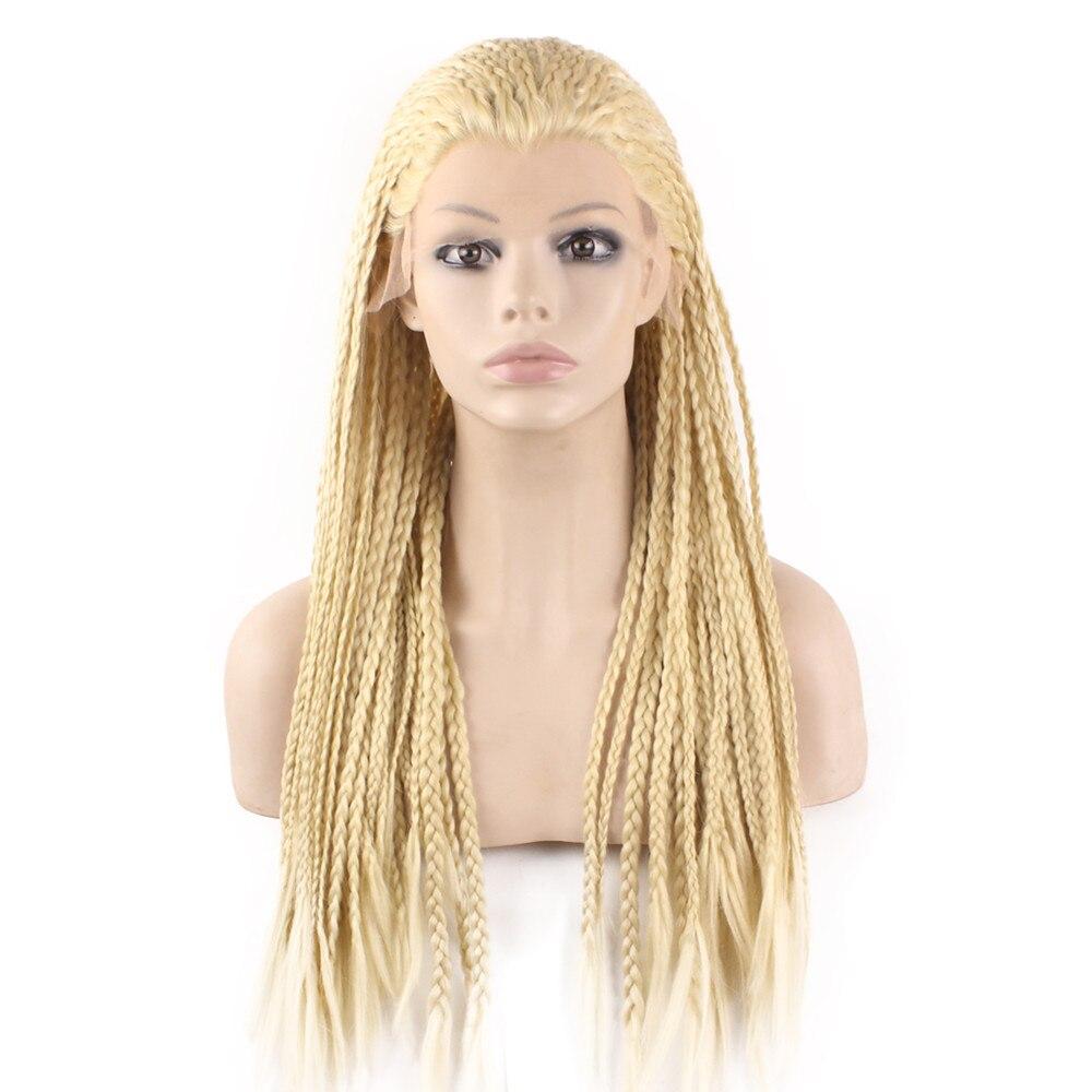 Panjang 613 pirang mikro kepang rambut sintetis Setengah tangan terikat rambut kepang Sintetis Wig renda depan