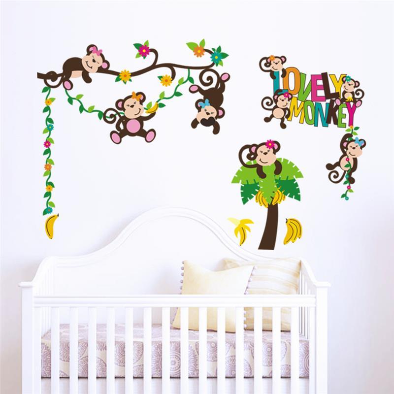 Monos Felices Decoraciones Etiqueta De La Pared Sala De Juegos Del