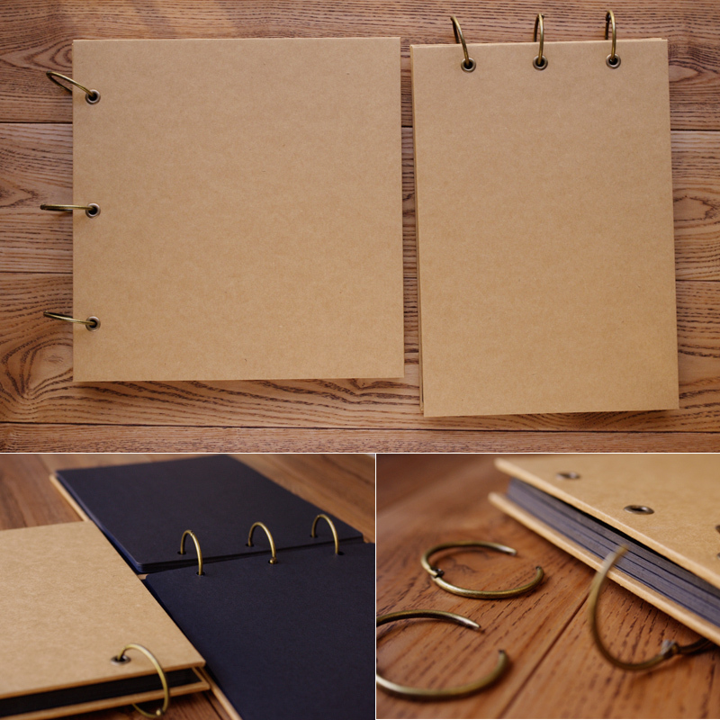 Favoloso New Diy handmade retro pure kraft paper cover photo album loose  UB29