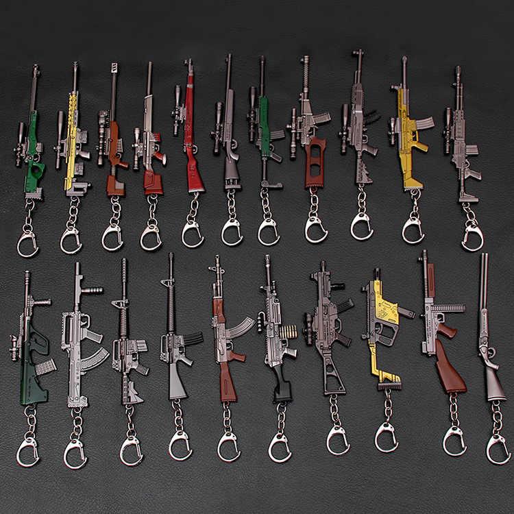 Sobrevivência jedi escapar matar comer jogo de frango ao redor armas modelo 98 k sniper rifle metal chaveiro pingente pubg pequeno presente