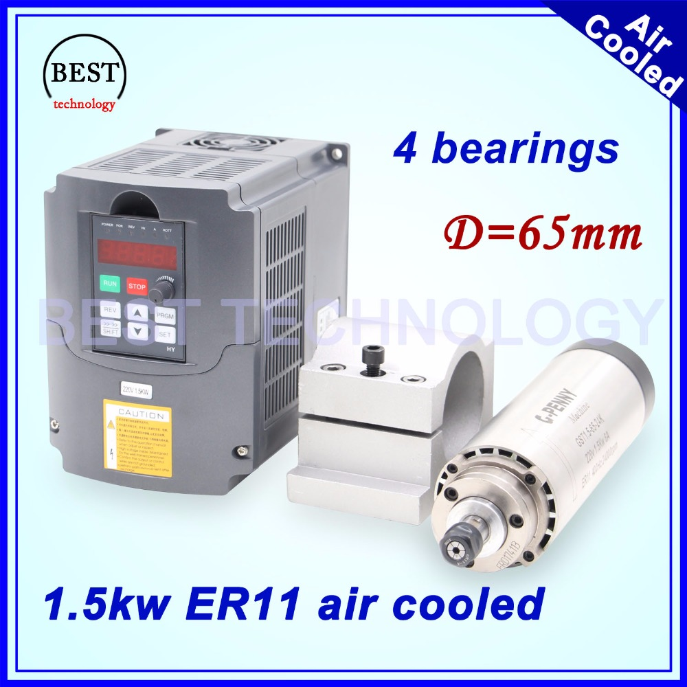 New arrival! 1.5kw ER11 air cooled spindle 24000rpm air cooling 400Hz 4 bearings 65x204mm & 1.5kw VFD/ Inverter & 65mm bracket new arrival 1 5kw er11 air cooled spindle 80mm diameter 4 pcs bearings 24000rpm air cooling cnc milling spindle accuracy 0 01mm