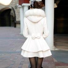 Brieuces 2017 зимнее пальто женщин на средние и длинные женские пальто двубортный меховой воротник капюшоном женская лук lovely верхняя одежда