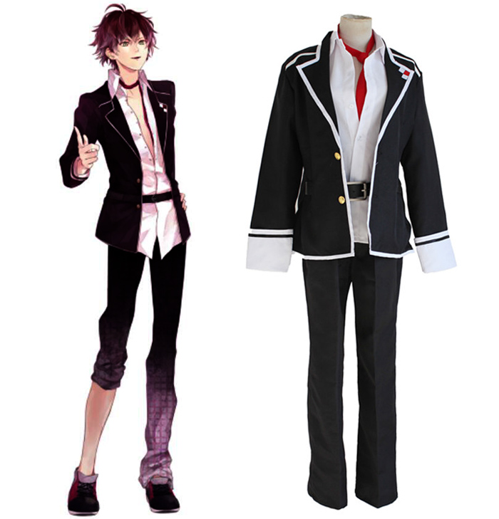 Anime Diabolik Lovers Sakamaki Ayato Cosplay Costume Full Set School Uniform ( Jacket + Pants + Belt + Tie ) Size S-XL