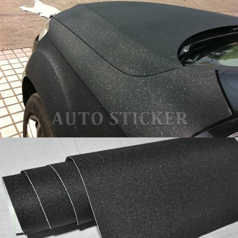 Glitter Black Vinyl Wrap With Air Bubble Free Car wrapping Diamond Sandy sparkle Foile Vehicle Stickers