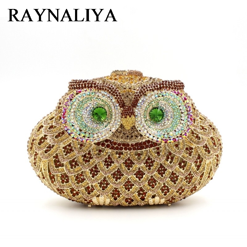Ladies Wedding Dress Bridal Crystal Owl Clutch Bag Women Diamond Dinner Banquet Purse Silver Metal Clutches Handbag ZH-A0226 luxury crystal clutch handbag women evening bag wedding party purses banquet