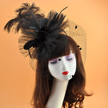 Europe feathers Fedora wedding hats for women elegant black hat Covered mesh face Party Church Hat Fedoras Pillbox Chapeau