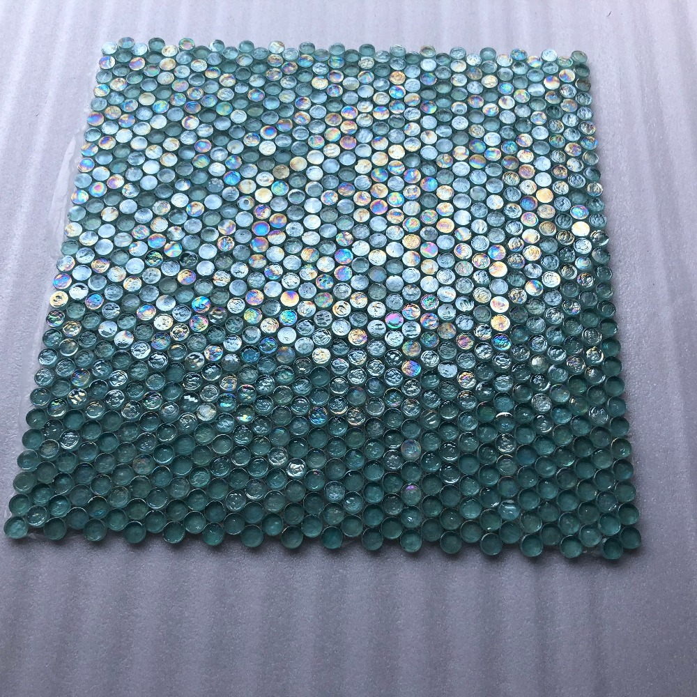 Iridescent Penny Round Aqua Blue Crytal Glass Mosaic Tiles, Kitchen ...