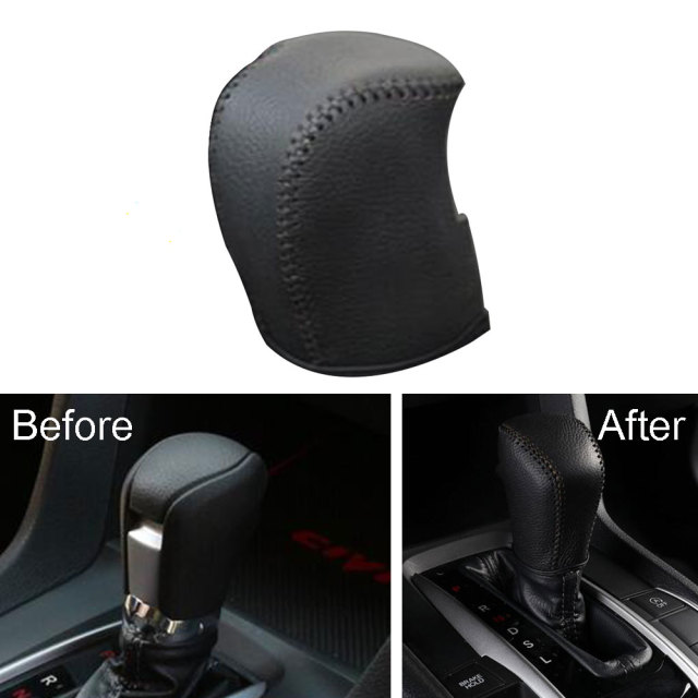 1pcs black leather gear shift knob head grip cover shell trim