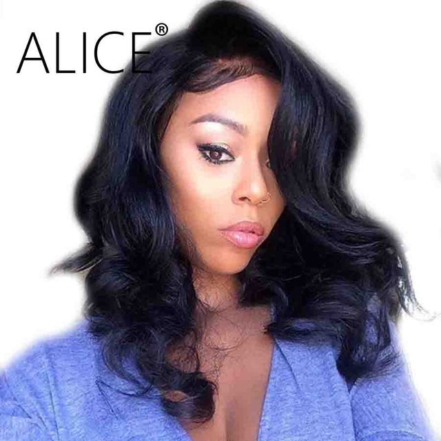 Alice 4x4 Silk Base Wig With Baby Hair 130 Percents Short Lace Front Human Hair Wigs For Women Brazilian Remy Water Wave Lace Front Wigs by Alice