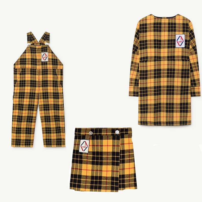 PRESELL BOBOZONE Yellow plaid dress skirt Tartan Mechanic Overalls Yellow for kids girls contrast hooded tartan plaid blouse