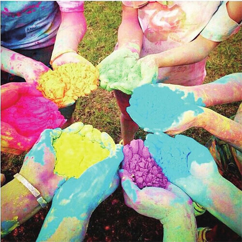1PC 100g/bag Colored Powder For Holi Party Novelty Festival <font><b>Rainbow</b></font> <font><b>Corn</b></font> Flour Colorful Powder Gags Practical Jokes Funny Gadget image