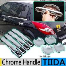 Для Nissan Tiida C11 2004-2011 хромированные покрытия для дверных ручек Tiida Latio Versa Trazo Sedan 2006 аксессуары наклейки для стайлинга автомобилей