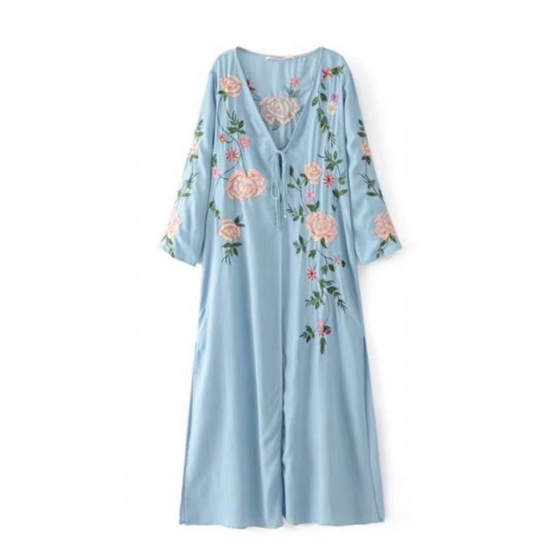 7872b401aab Detail Feedback Questions about Women Floral Embroidery Fashion Long Blue  Denim Dress Summer Autumn V neck Split Maxi Kimono dresses Femme vestidos  Z430 on ...