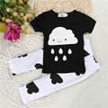 Summer style baby clothing set baby outfit sets baby Short sleeve suit  wearing comfortable, cool.Black and white combination