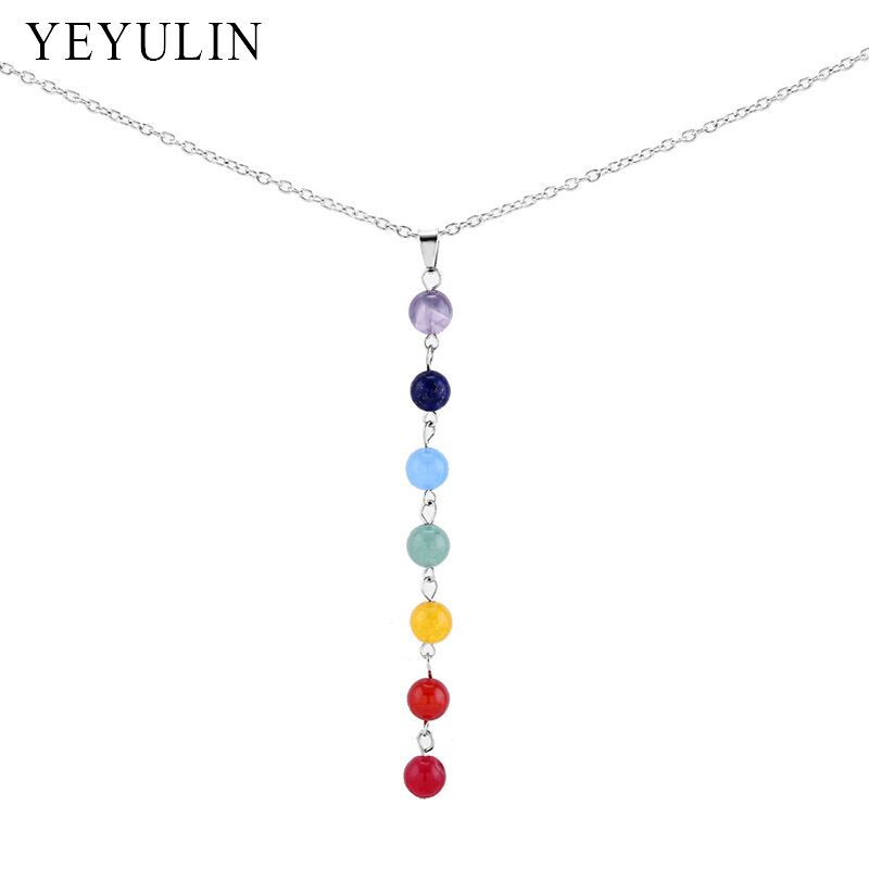 3pcs/lot New Fashion Mixed Color 7 Chakra Beads Pendant Necklace For Men Women Yoga Reiki Healing Balancing Chain Necklace ...