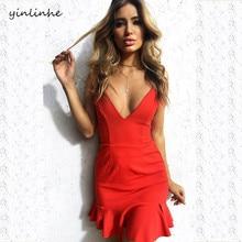 Yinlinhe Глубокий V шеи сплошной сексуальное платье Для женщин без рукавов красные, черные летнее платье с открытой спиной Кружево до оборками элегантный Туники 123