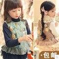 2016 мода цветы дети жилет корейский colete infantil menina детей новорожденных девочек кружева жилет сладкий кружева цветочные жилеты