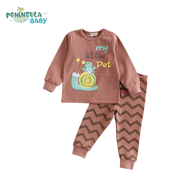 2Pcs Kids Long Sleeve Baby Pajamas Suit Children's Warm Boys Girls Clothes Sets Cartoon Animals Fashion Soft Sleepwear 1-3Y