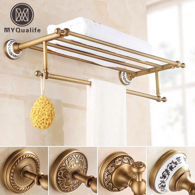 Brass Antique Artistic Towel Rack,towel Shelf with Bar,towel Holder Bathroom accessories Wall Mounted european antique brass double towel bars luxury towel rack towel bar wall mounted towel holder bathroom accessories zl 8711f