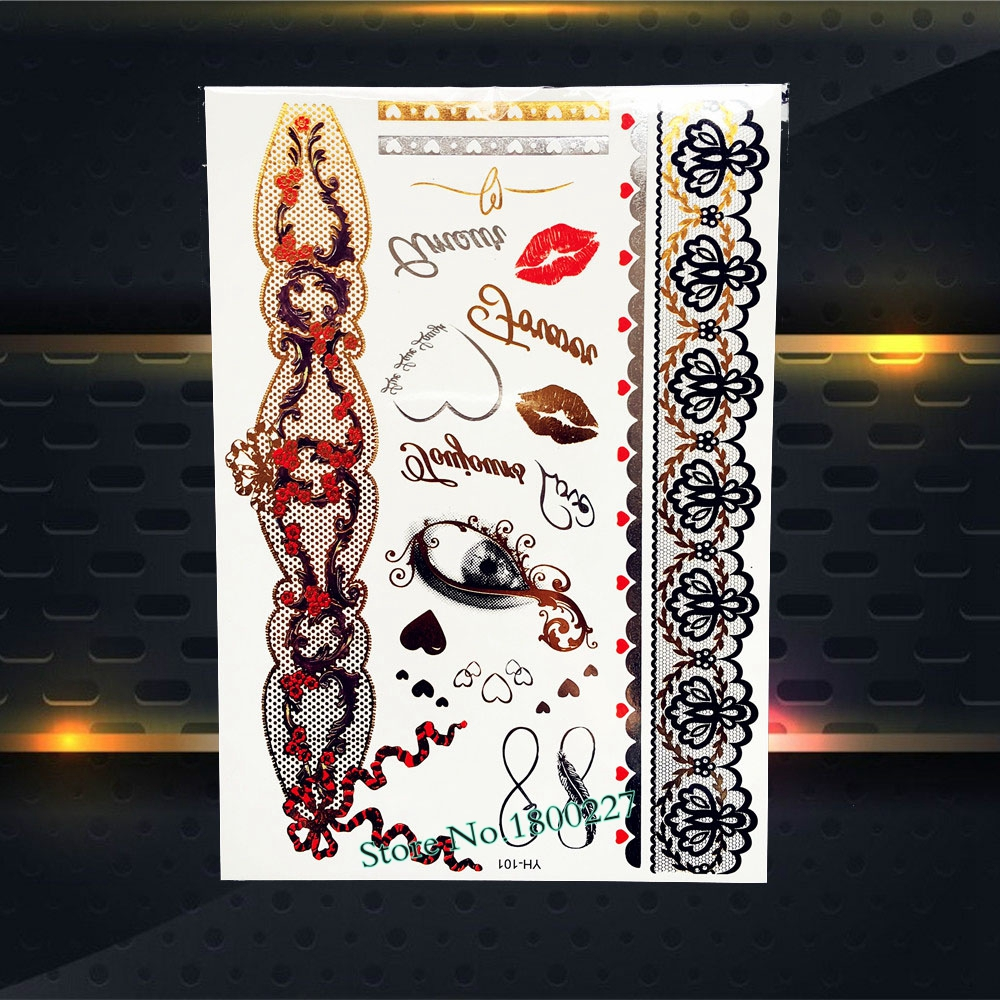Sexy Body Art Gold Temporary Tattoo Red Lip Eye Lace Jewel Flower Bracelet Design Body Leg Art Waterproof Tattoo Sticker PYH-101