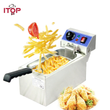 Electric 6L Fryer Commercial Home Use French Fries 2000W Stainless Steel Countertop Deep Single Tank Basket