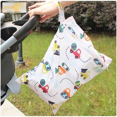 Baby Diaper Bag Waterproof Reusable Wet Dry Bag Print Pocket Nappy Bag