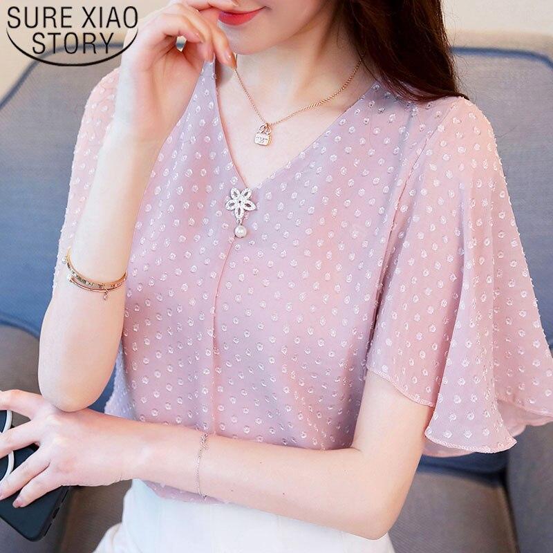 Fashion women   blouse   and tops 2019 ladies tops chiffon   blouse     shirt     shirts   white   shirt   Beading Polka Dot V-Neck short 3852 50